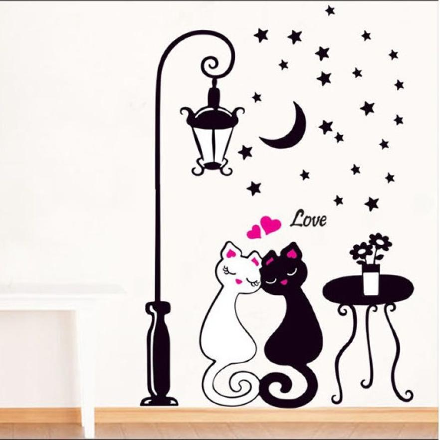 Us 175 Hot Home Decor Living Room Bedroom Wall Stickers Lovers Cat Street Lights Wallpaper Black White Cat Sticker Aug10 In Wall Stickers From