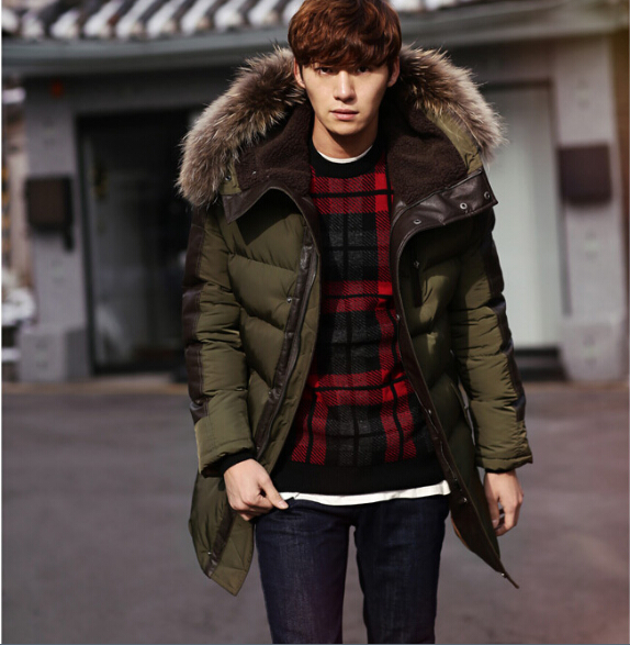 2015 Men Winter Casual Raccoon Dog Fur Collar Cotton Warm Long Hooded Coat Army Green Fleece Outwear Thick Jacket Parka  -  LOVE U MORE store