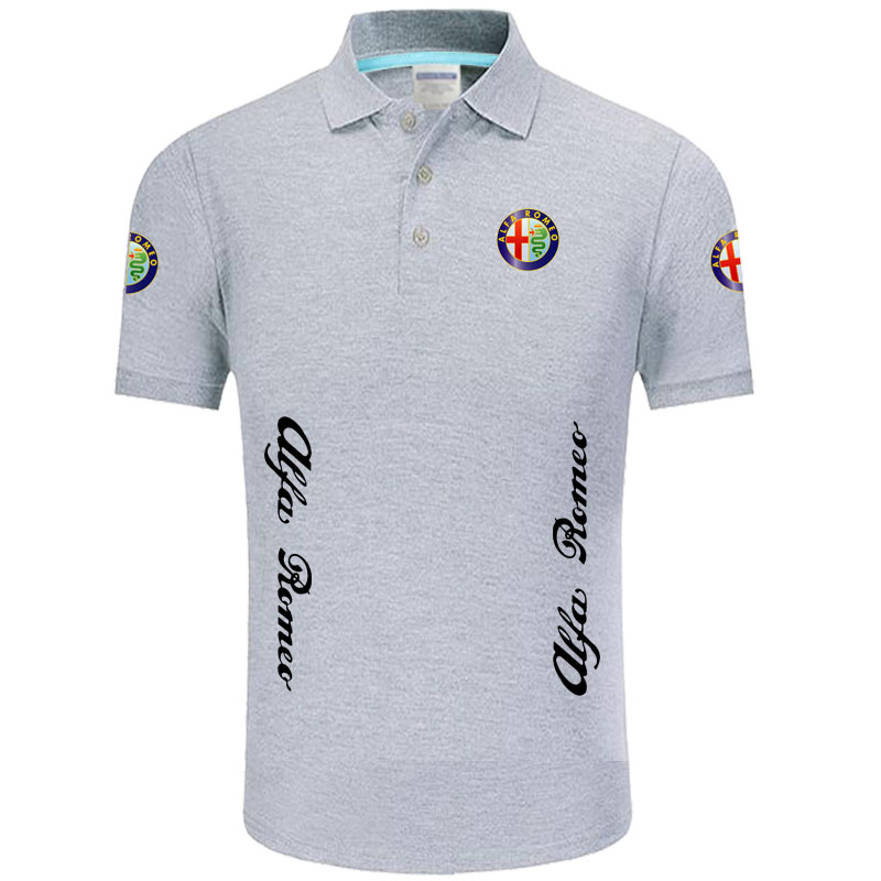 Summer High quality brand Alfa Romeo logo   polo   short sleeve shirt Fashion casual Solid   Polo   Shirt unisex shirts