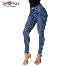 6767c189f5 SEBOWEL de cintura alta dobladillo Irregular lápiz de mujer Jeans vaqueros  Mujer invierno otoño primavera Mujer