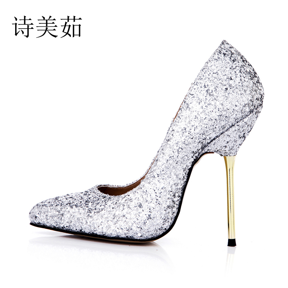 2016 New Silver Glitter Sexy Party Shoes Women Pointed Toe Stiletto High Heels Ladies Pumps Plus Sizes 10 Zapatos Mujer 3845A-a2 2017 new ivory sexy wedding bridal shoes women pointed toe stiletto super high heels chain lace lady pumps zapatos mujer 0640 f5