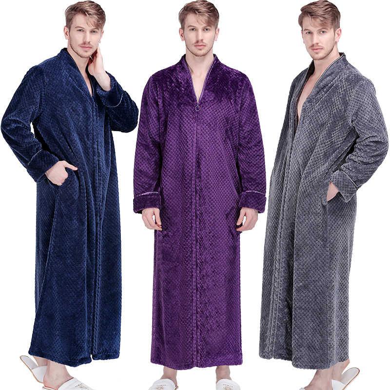 Men Extra Long Thermal Flannel Bath Robe Zipper Plus Size Thick Warm Coral  Fleece Bathrobe Women 1ee54f7f4