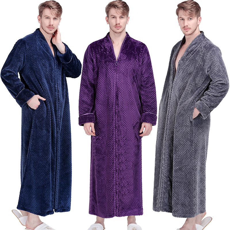 Men Extra Long Thermal Flannel Bath Robe Zipper Plus Size Thick Warm Coral  Fleece Bathrobe Women Mens Dressing Gown Winter Robes 03abd9b24