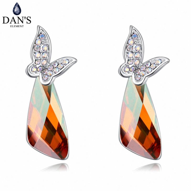 DANS 6 Colors Real Austrian crystals Stud earrings for women Earrings s New Sale Hot Round 129617