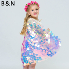 Shinny Cloak Girl Cape Sequins Mantle Bling Flash Tie Princess Dress Long Colorful Scale Costume Cosplay Unicorn
