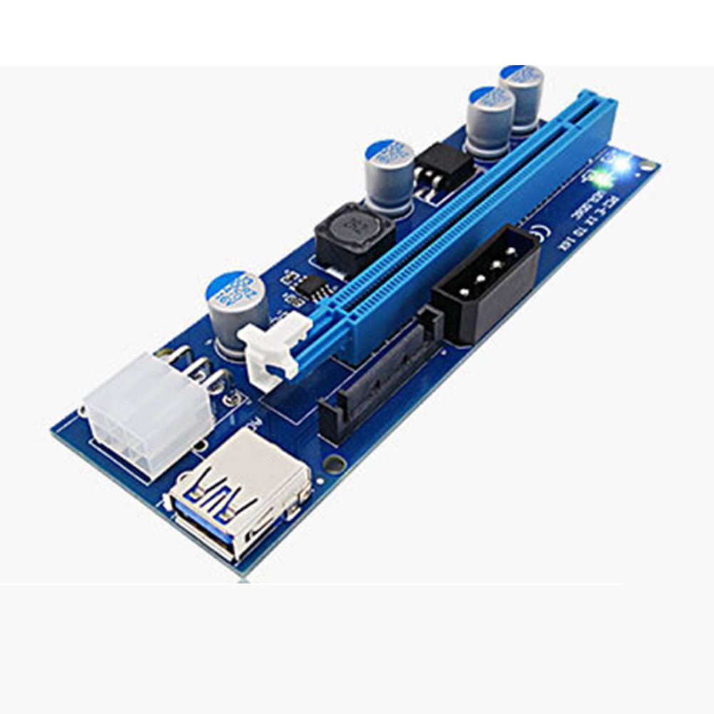 цена 1X To 16X Extender Riser Card PCI-E Express Adapter USB 3.0 LED SATA 6 Pin Power Cable For Mining QJY99