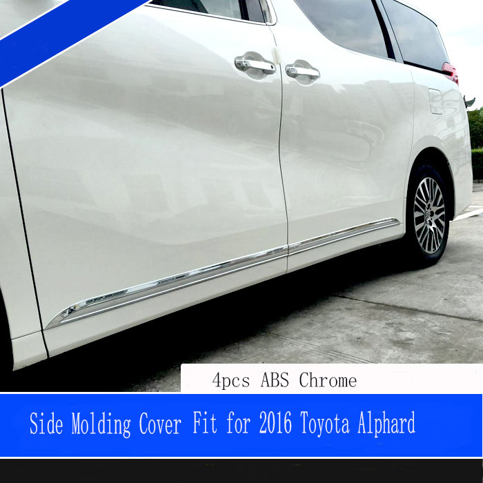 car Accessories styling For Toyota Alphard 2016 ABS chromium car body door side skirt accent moulding sticker trim 4pcs/set