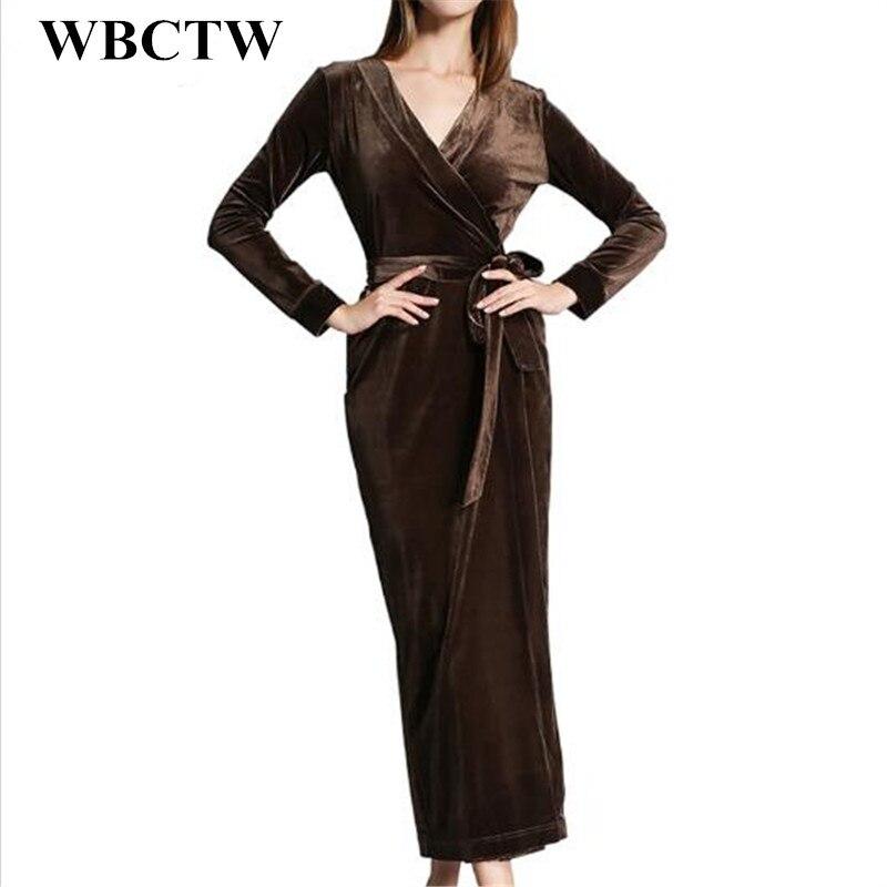Longues Taille Wbctw Mince Red Velours Robe Mode Solide Casual Black Manches Plus wine Maxi 6xl Bureau Élégant Longue pink Partie Femmes La 7xl Robes qFwPaq
