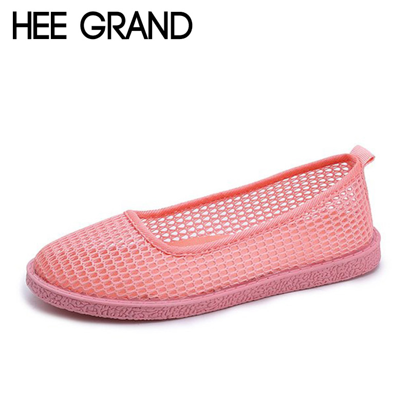 HEE GRAND Women Summer Flats Mesh Air Women Causal Shoes Fashion Slip-on Shoes Hollow Vamp Light and Breatheable XWZ4860 instantarts women flats emoji face smile pattern summer air mesh beach flat shoes for youth girls mujer casual light sneakers