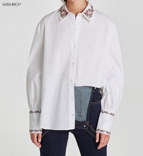c7b452a85 Wishbop Nuevo 2018 primavera moda mujer camisa blanca con cuello bordado  puños abotonados manga larga button
