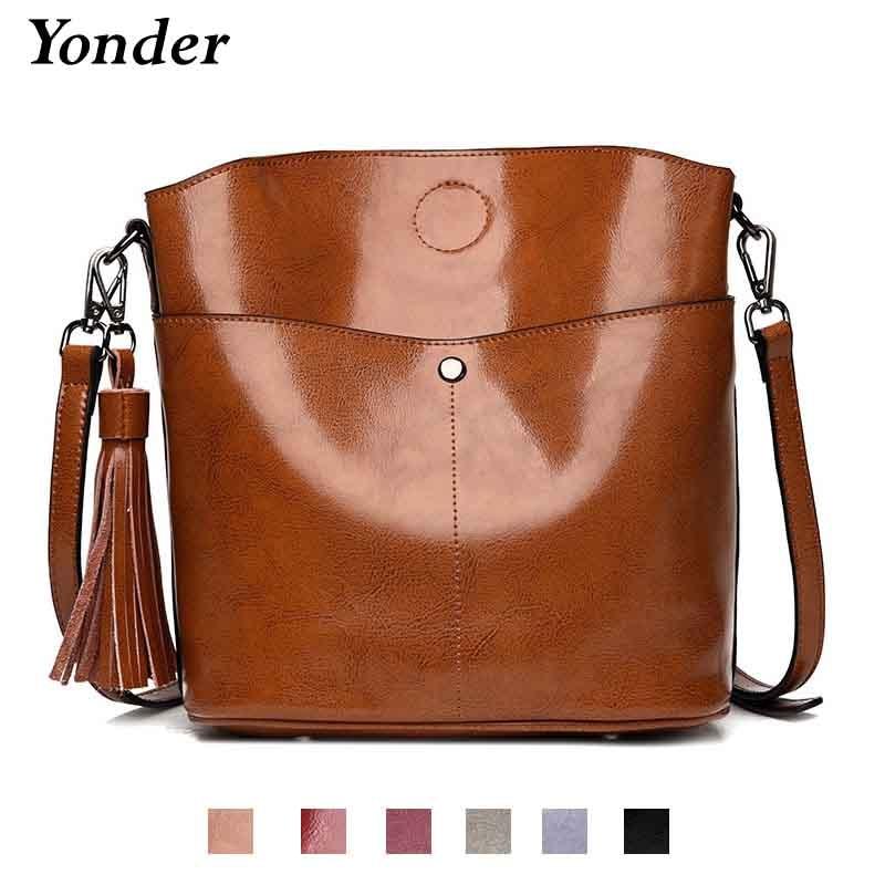 Yonder Black crossbody messenger bag women s genuine leather shoulder bag  female bucket bag women High quality brown handbags -in Shoulder Bags from  Luggage ... 4f00e228f8858