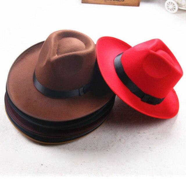 efd749a48d56c Hot Sale Vintage Unisex Men Women Felt Hat Wide Brim Fedora Trilby Panama  Pure Color Gangster Cap