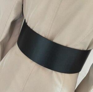 Image 5 - Cinturón de piel con hebilla redonda para mujer, con hebilla redonda Cinturón de piel, estilo clásico, 2018