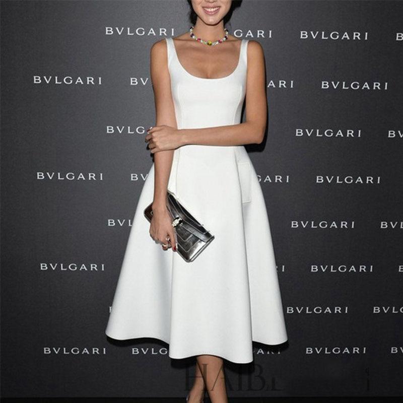Wholesale European Style Street Snap OL Formal White Black Women Long Vintage Dress Elegant Sleevelss Retro