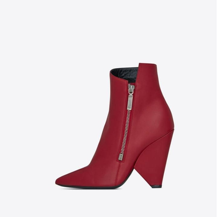 983d4e9a166 Detail Feedback Questions about Women Cowboy Boots Red Leather Side Zipper  Short Women Wedge Boots Pointed Toe Cone Heels Runway Ladies Winter Shoes  and ...