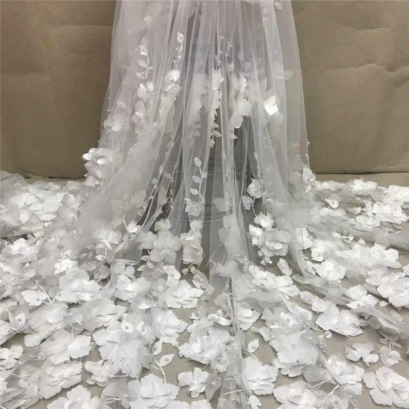 לבן 3D חרוזים תחרה בד 2020 רשת באיכות גבוהה רקמת Applique 3D פרח טול ניגרית בדי תחרה כלה XC300a