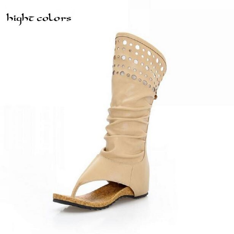 newest b1158 c93f9 US $27.0 46% OFF|Mode Frauen Gladiator T straps Flache Stiefel Damen Casual  Flache Sommer Stiefel Schuhe BEIGE + KHAKI 2019 Marke Neue rom Frauen-in ...