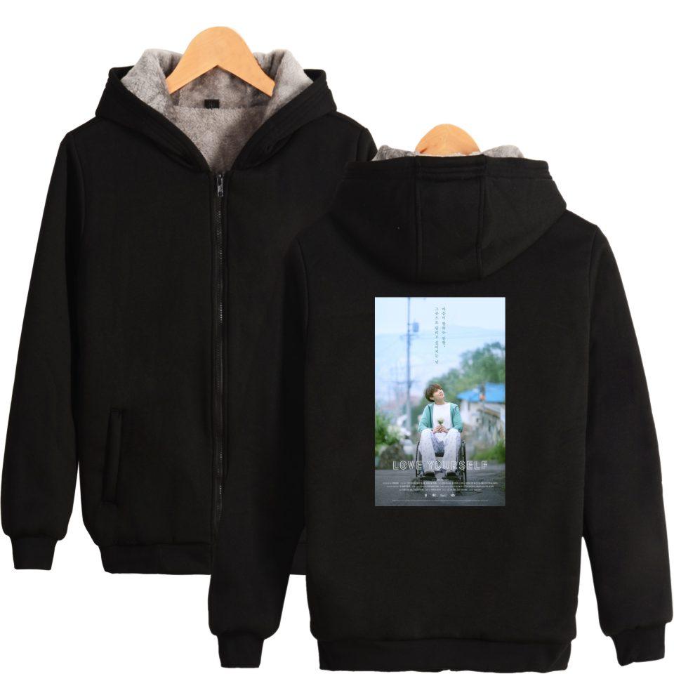 Wanita Musim Dingin Kentalkan Bangtan Bts Kartun Zipper Harajuku Sweater Hoodie Hip Hop Kaus Korea Kpop Kawaii Pakaian Di Hoodies Dari