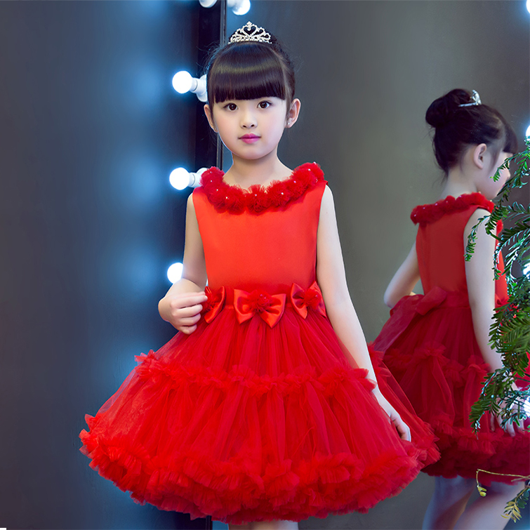 2017 New Arrival China Traditional Red Color Children Girls Princess Bow Mesh Dress Kids Wedding Birthday Party Ball Gown Dress girls children lace flowers princess wedding party dress tail bow mesh white pink red kids clothing