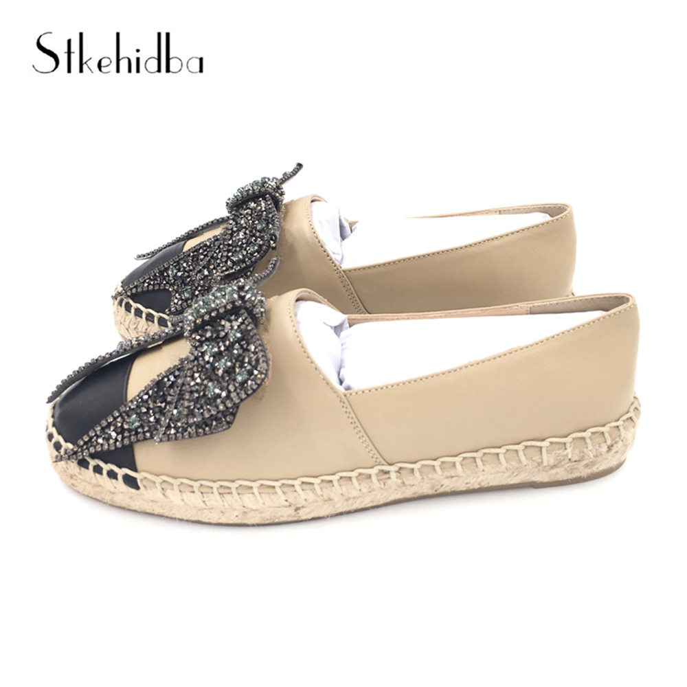 Stkehidba Women Flats Genuine Leather Shoes Woman Slip On Loafers Woman Platform Flat Shoes Black Nude Espadrilles Women Flats-in Women's Flats from Shoes    2