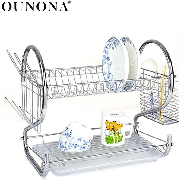 Multi Functional Double Layer Kitchen Metal Dish Drying Rack Shelf Holder  Organizer (Silver)