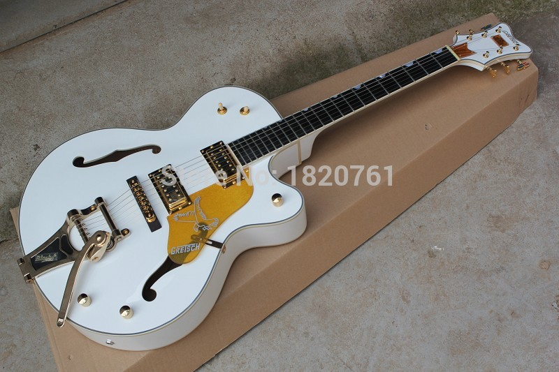 Ebony fingerboard GRETSCH THE WHITE FALCON 6120 Semi Hollow Body Jazz Korean Tuners Electric Guitar With Bigsby Tremolo 14917 free shipping gretsch 6120 hollow body orange stain electric guitar in stock
