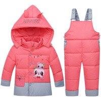 Çocuk Erkek Aşağı Mont Takım Kış Kalın Moda Polka Kapüşonlu kalın Sıcak Bebek Palto Parka Bebek Kız Çocuklar Kar Giyim Set