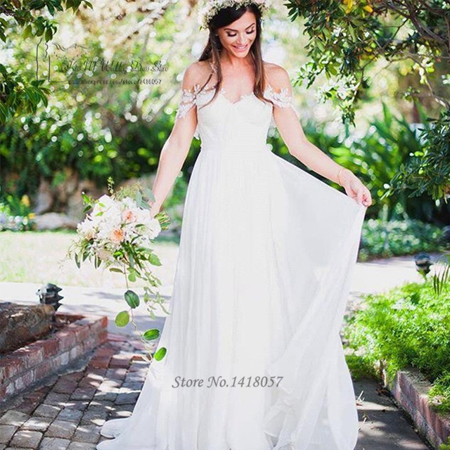 cf27e65f580 Cheap Beach Wedding Dress 2017 off Shoulder Lace Bridal Dresses Pleated  Chiffon Wedding Gowns Boho Robe de Mariage Indian