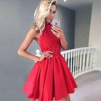 BeryLove красное Микадо короткое платье на выпускной 2019 Мини высокий вырез, открытая спина вышивка кружева свадебные платья выпускное платье В