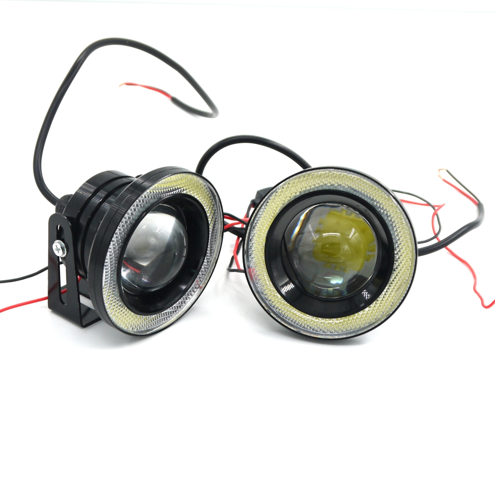 White 2pcs Waterproof Projector Led Fog Light Lens Halo