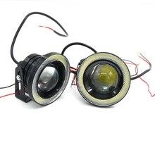 Белый цвет, 2шт, водонепроницаемый проектор LED для освещения в тумане, световой объектив, кольца Angel Eyes мощностью 30W, ксеноновые фары 12В-15В, внедорожные противотуманные ATV фары 2.»3″ 3.5″
