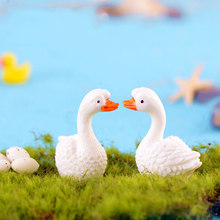ZOCDOU 1 Piece White Goose Goosey Goosie Swan Cygnus Small Statue Home Decoration Accessories Miniature Decor Crafts Figurines(China)