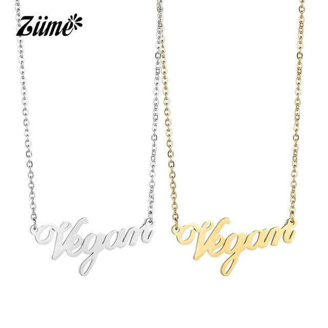 Ziime Vegan Symbol Necklace Female Goldrose Goldsilver Color