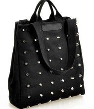 2017 new Hot sale women's handbag preppy style punk rivet handbag fashion women totes bags thickening canvas bag student bag