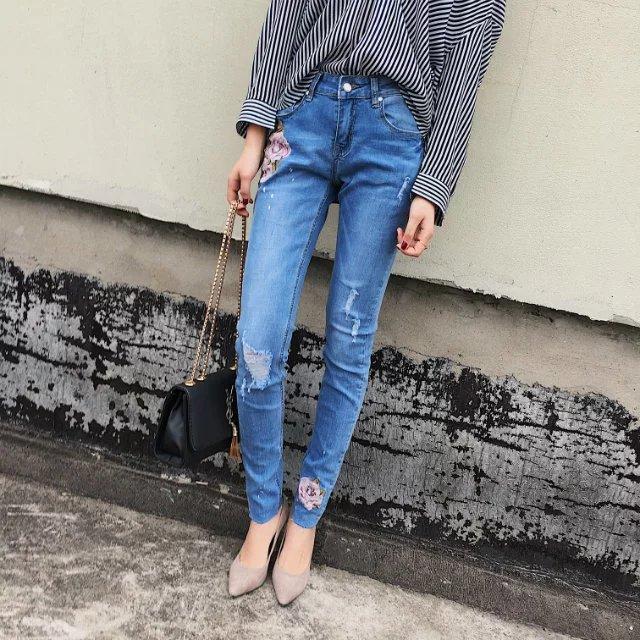 Rose Embroidery Elastic Slim Fashionable Chess Cowboy Pants Pants Feet Pants