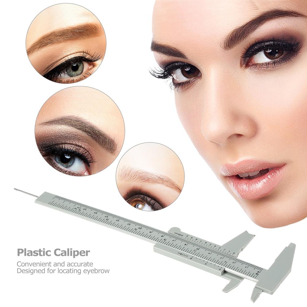 1pc Plastic Caliper Eyebrow Measuring Ruler Double Scale Sliding