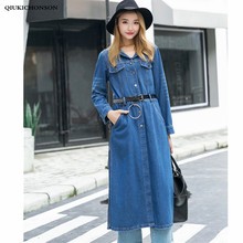 цена на High Slit Long Denim Trench Coat Women Spring Autumn Casual Long Sleeve Single Breasted Jeans Tunics Waterfall Coat Outerwear