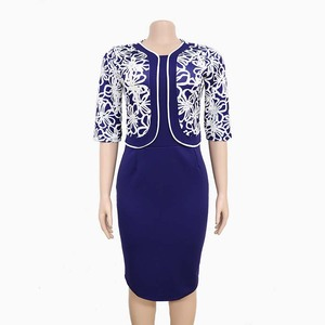 Image 2 - בגדים אפריקאים אלגנטי Bodycon שמלת נשים משרד ליידי 2019 מודפס טלאים חצי שרוול גבוה מותן תחבושת עיפרון שמלת חלוק