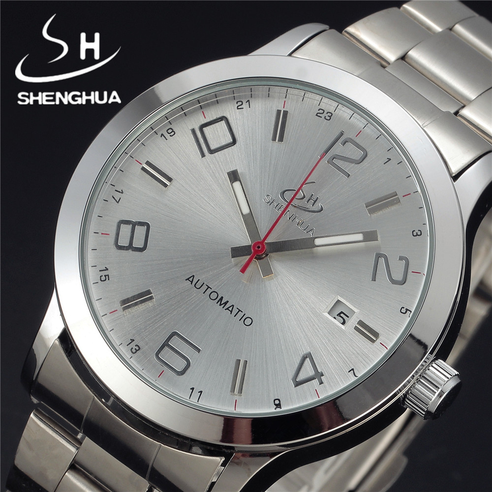 SHENHUA Luxury Brand Military Clock Calendar Stainless Steel Men Casual Mechanical Watch Fashion Male Dress Automatic Watches bosck brand gold luxury men mechanical automatic watch male clock self wind men watches calendar stainless steel wristwatches