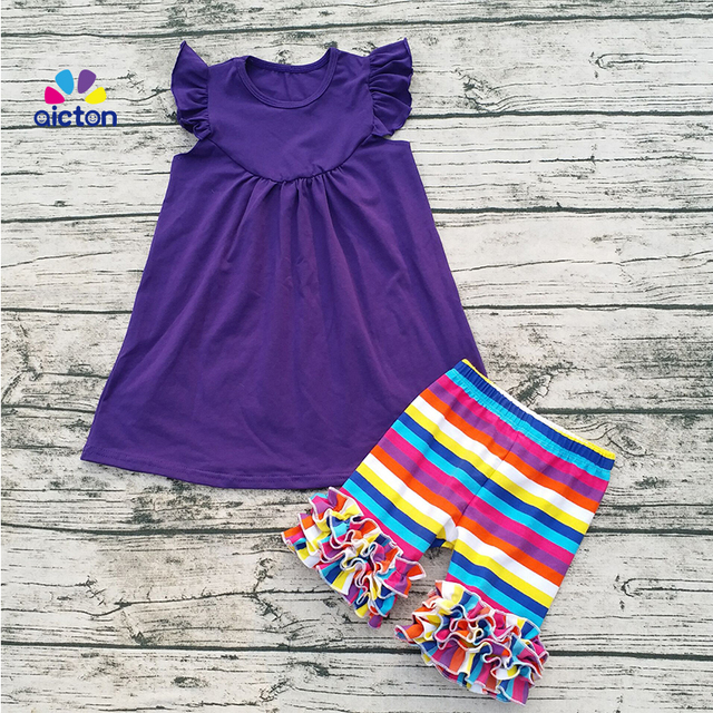 7283d5f4b451 New Arrived girl Flutter Clothing With stripped Icing Shorts Set purple  cotton top with Icing Shorts