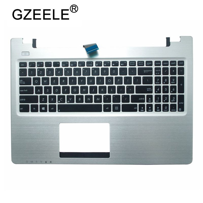 GZEELE US Laptop Keyboard bezel For ASUS R505C S550C V550C K56CM S56C A56C S500C K56C K56 upper case palmrest cover silver color|Replacement Keyboards| |  - title=