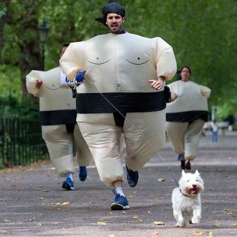 Halloween Nadmuchiwane Sumo Suits Zapaśnik Kostiumy Stroje Fat Man - Kostiumy - Zdjęcie 3