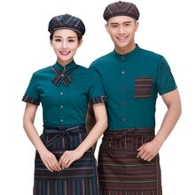 The hotel restaurant waiter snack cake Internet cafe Western clothes long-sleeved short-sleeved summer female hot pot bakery