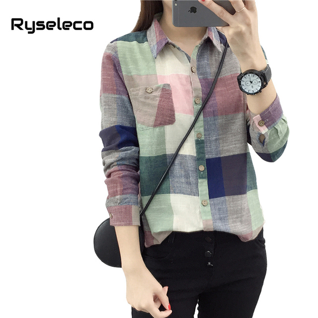 123eb8fd718 New Spring 2018 Plaid Casual Shirts Girls Long Sleeve Classic Kimono  Vintage Linen Cotton Women Loose Shirt Tops Camisa Feminina