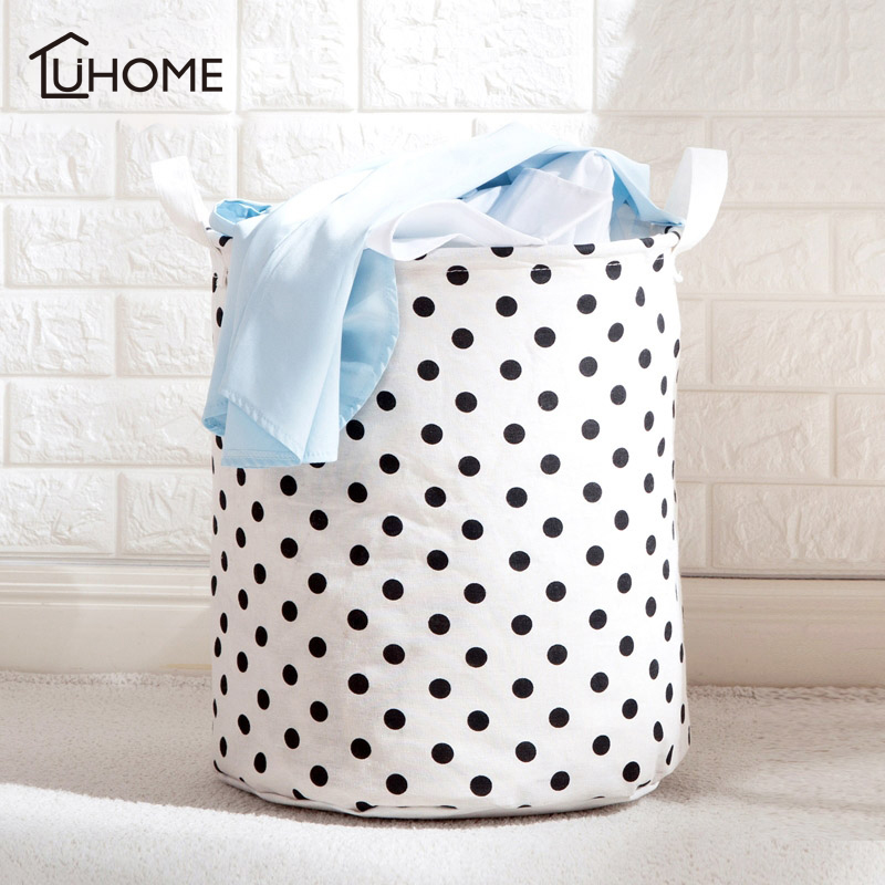 Large Laundry Basket Toy Storage Picnic Basket Box Cotton Linen Dot Star Pattern Washing Clothes Box Baby Orgnizer Bin ...