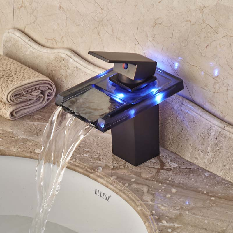 Hot Sale LED Light Bathroom Glass Waterfall Basin Mixer Faucet Single Handle Oil Rubbed Bronze Finish