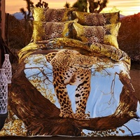 Ağaç ve Leopar 3D Hayvan Baskı Yatak Seti 4 adet Kraliçe boyutu Nevresim Çarşaf Pamuk Reaktif Baskı Ev Tekstili setleri