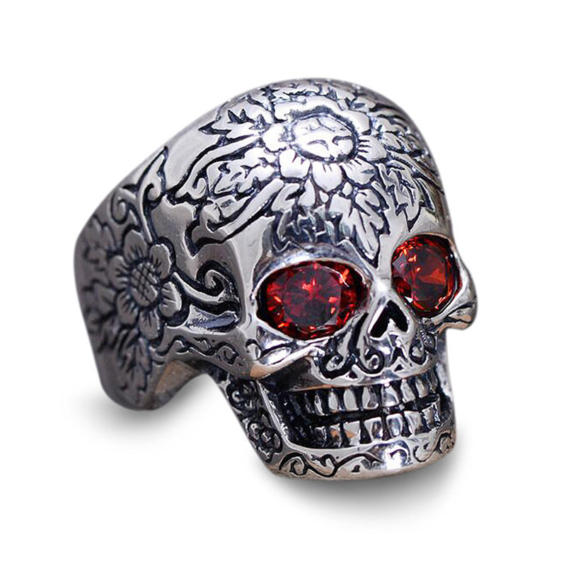 Solid Silver 925 Rose Flower Skull Wide Band Rings For Men Thai Silver Set Red Stone 925 Sterling Silver Mens Jewelry Biker Ring mens solid 925 sterling silver 8mm rope ring