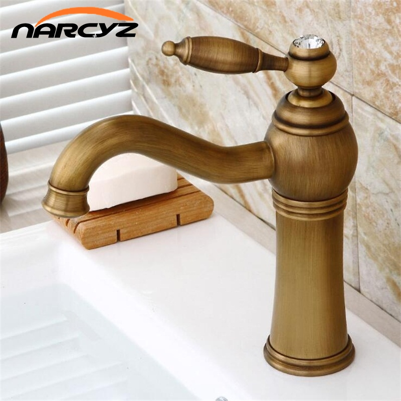 Antique Finish Bathroom Basin Faucet Single Handle Bathroom Sink Mixer Faucet Crane Tap Antique Brass Hot and Cold Water XT953 basin faucet water tap bath 360 degree swivel antique bathroom faucet single handle sink tap mixer hot and cold sink water crane