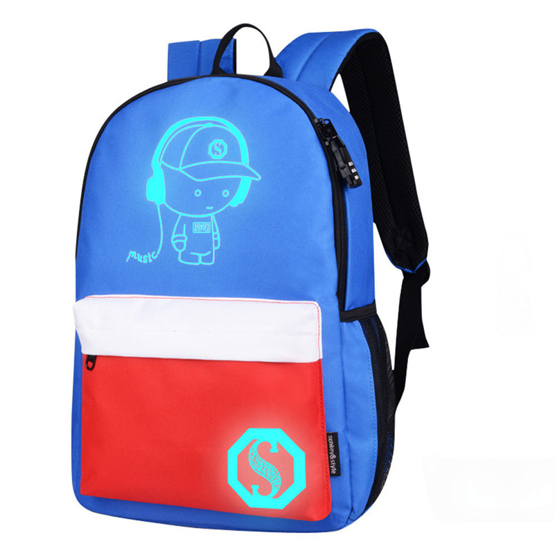 Boys Girls Backpacks Unisex Light Preppy Teenagers Noctilucent Cartoon School Oxford Bags Student Backpack A8